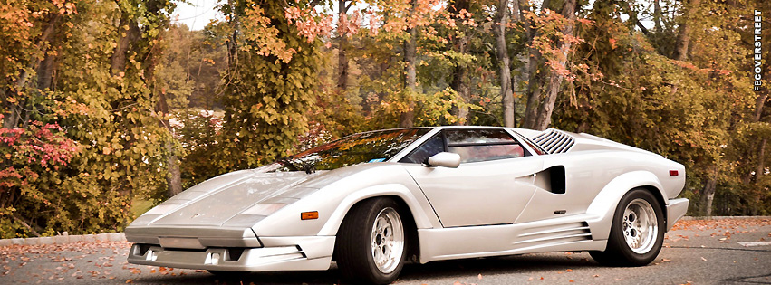 Lamborghini Countach Silver  Facebook Cover
