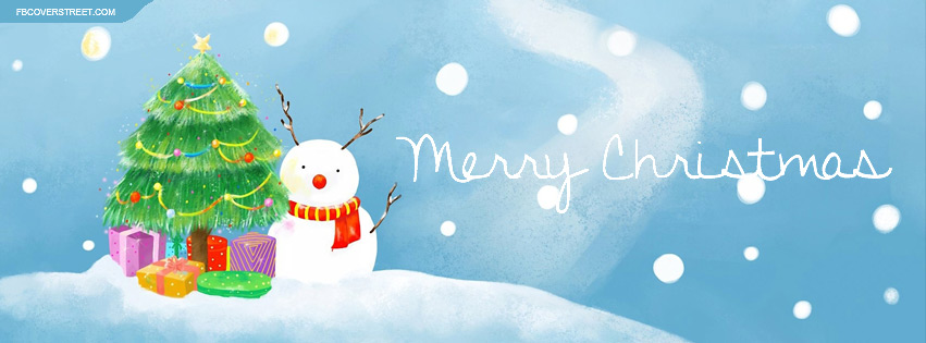 Merry Christmas Cute Winter Stuff Facebook Cover - FBCoverStreet.com