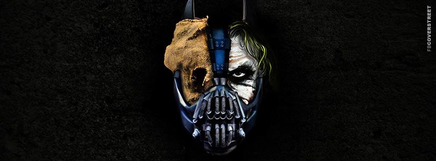 Batman Trilogy Villains Joker Scarecrow and Bane Movie Facebook Cover