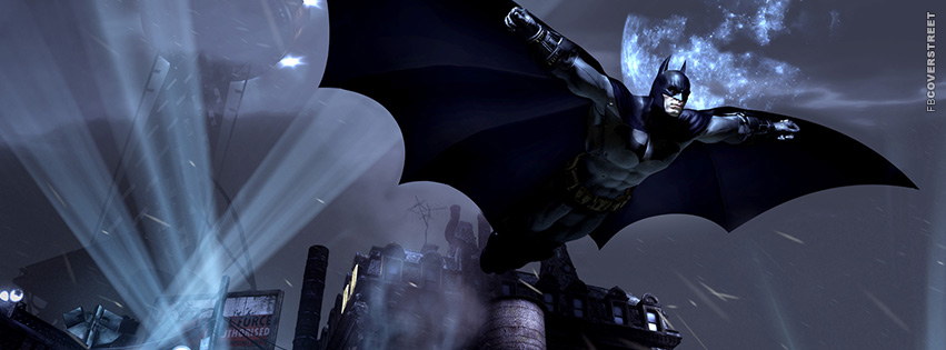 Batman Flying Video Game Render Facebook cover