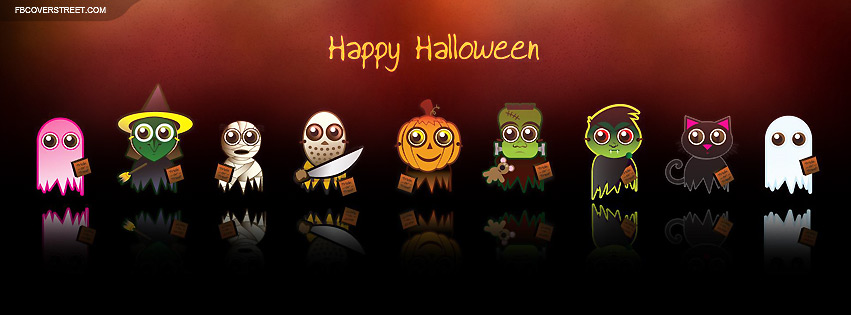 Cute Halloween Costume Characters Happy Facebook Cover