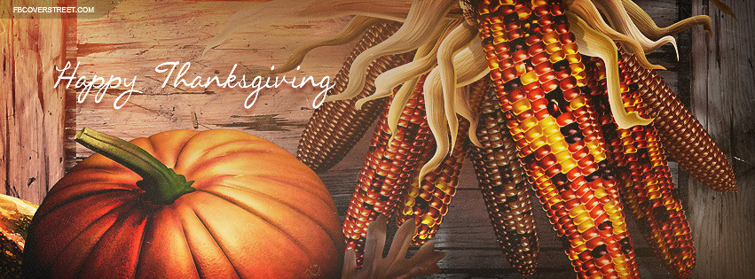 Happy Thanksgiving Fall Assortment Art Facebook Cover