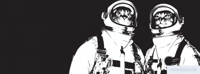 Space Cats Black and White Facebook Cover
