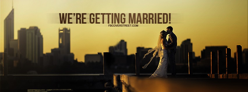 Were Getting Married Bride And Groom On Dock Facebook Cover