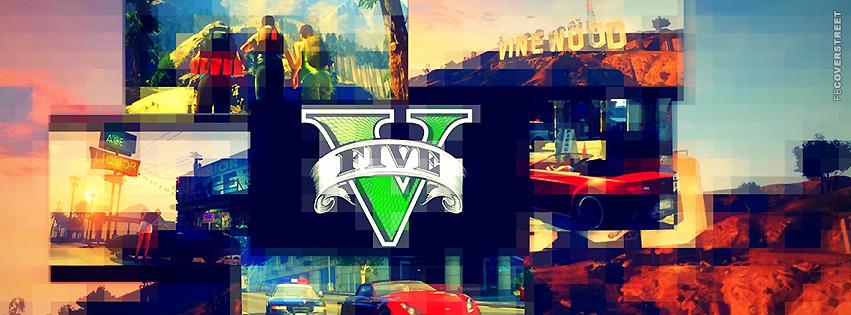 GTA V Pixelated Collage Logo  Facebook Cover