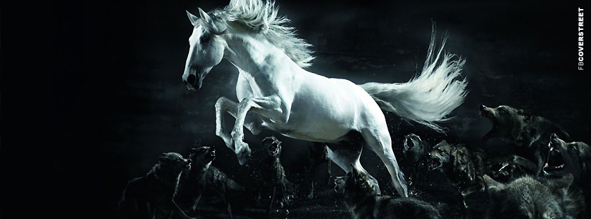 Horse Running From Attack Dogs  Facebook Cover