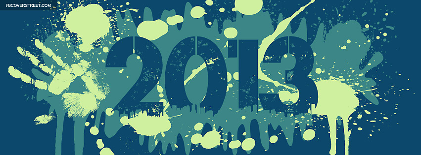 2013 Paint Splatters Blue Facebook cover