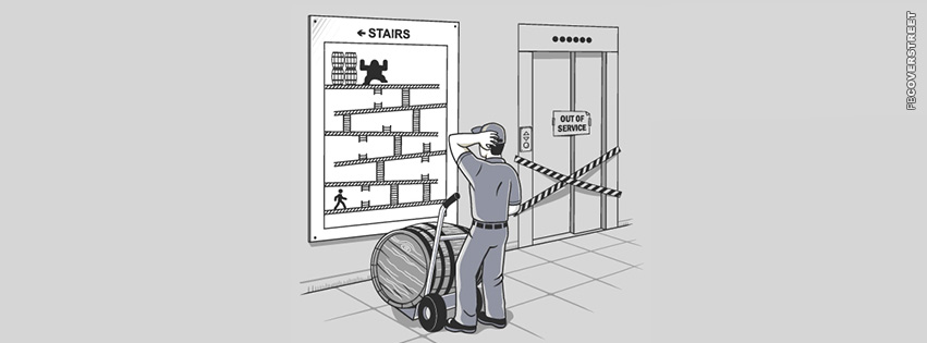 Kong Nintendo Funny Elevator  Facebook Cover