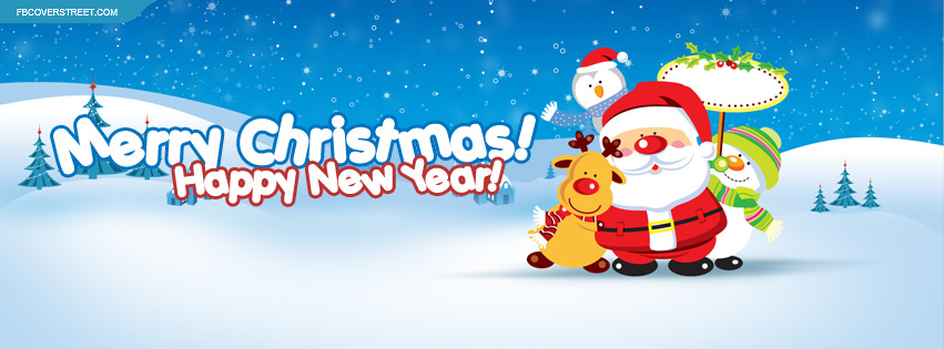 Merry Christmas Happy New Year Facebook Cover - FBCoverStreet.com