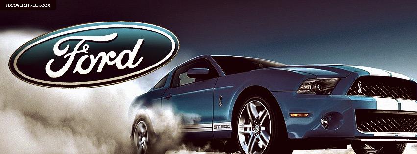 Blue Mustang Cobra GT500 Large Logo Facebook Cover