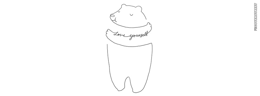 Love Yourself Hugging Bear  Facebook cover