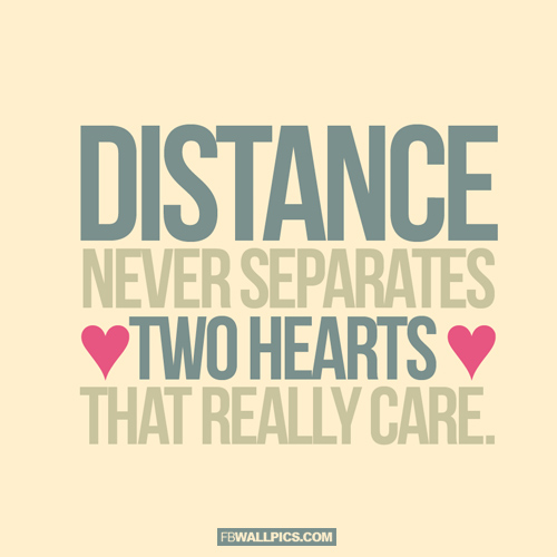 Distance Never Separates 2 Hearts  Facebook Pic