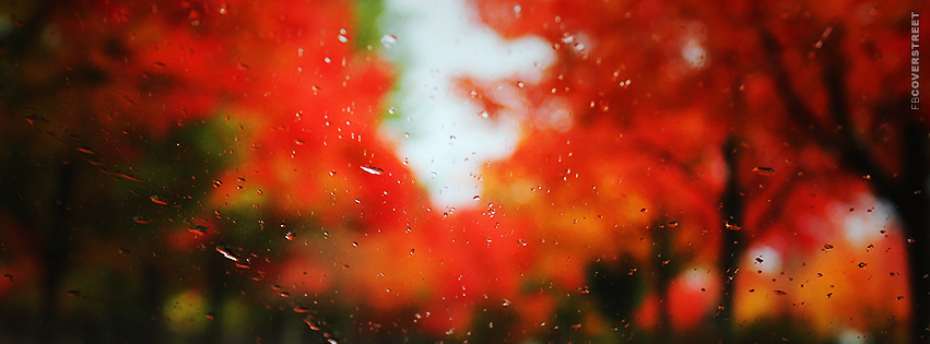 Autumn Blurred Wet Window  Facebook cover