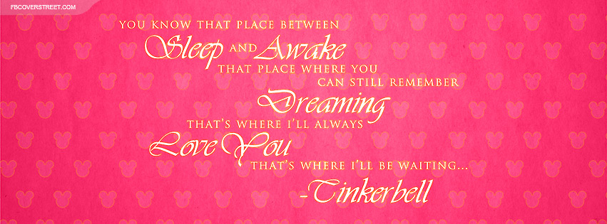 Tinkerbell Ill Be Waiting Quote Facebook Cover Fbcoverstreet Com