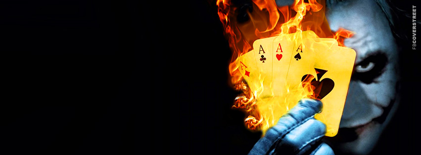 The Joker Flaming Cards Heath Ledger Movie Facebook Cover