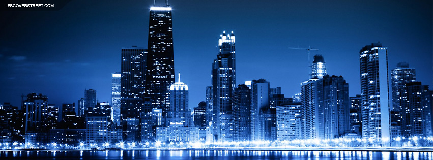 Chicago Blue Lit City Facebook Cover