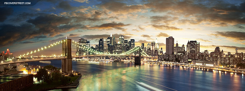 New York City Bridge Sundown Facebook Cover