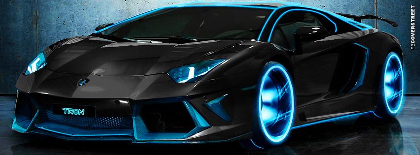 Tron Blue Lambo  Facebook Cover