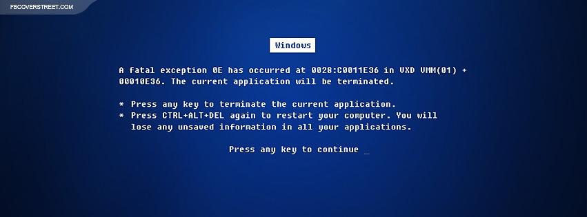 Windows Blue Screen of Death  Facebook cover