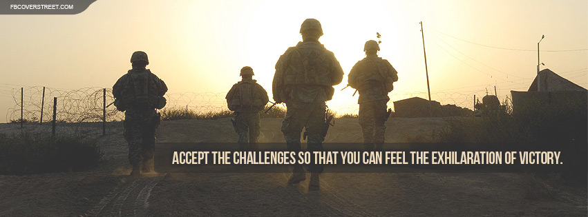 US Army Accept The Challenges Quote Facebook Cover
