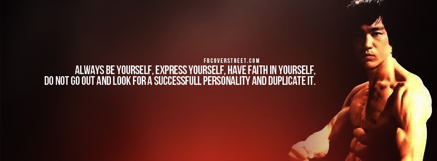 Bruce Lee Duplicate Personality Quote Facebook Cover