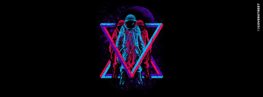 Tri Colored Triangle Astronauts Facebook Cover