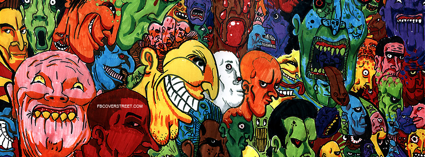 Crazy Cartoon Faces Facebook cover