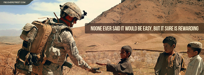 US Army Not Easy But It Is Rewarding Quote Facebook Cover