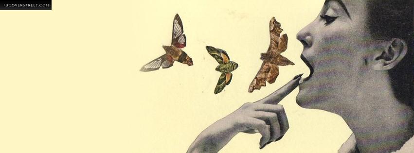 Butterflies Exiting Mouth [butterflies, Facebook cover