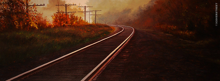 Autumn Train Tracks Painting  Facebook cover