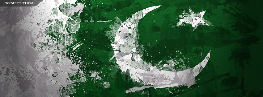 Pakistan Flag Paint Splattered Facebook Cover
