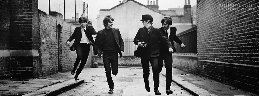 Vintage The Beatles Running Facebook Cover