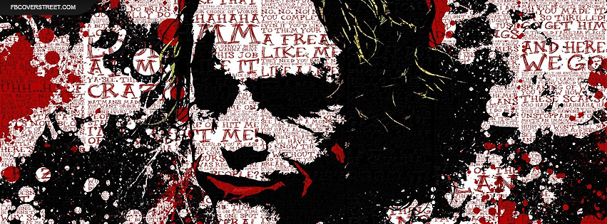 The Joker Paint Splatter and Words Facebook Cover