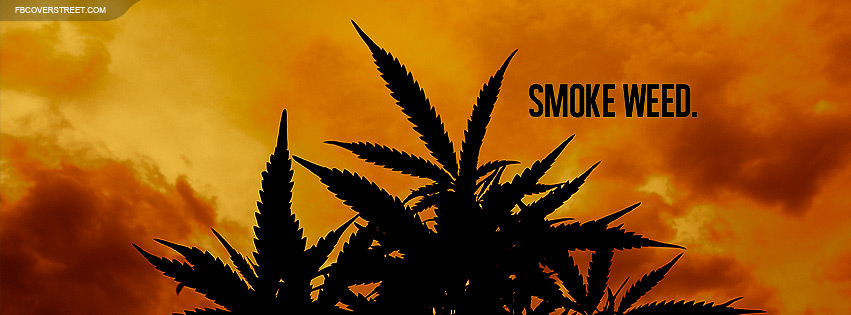 Smoke Weed Plant Silhouette Facebook Cover