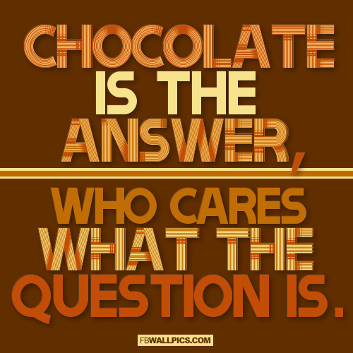 Chocolate Is The Answer  Facebook Pic