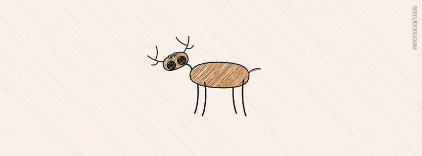 Cute Drawn Christmas Raindeer  Facebook cover