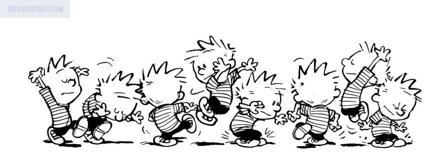 Calvin and Hobbes Black and White Facebook cover