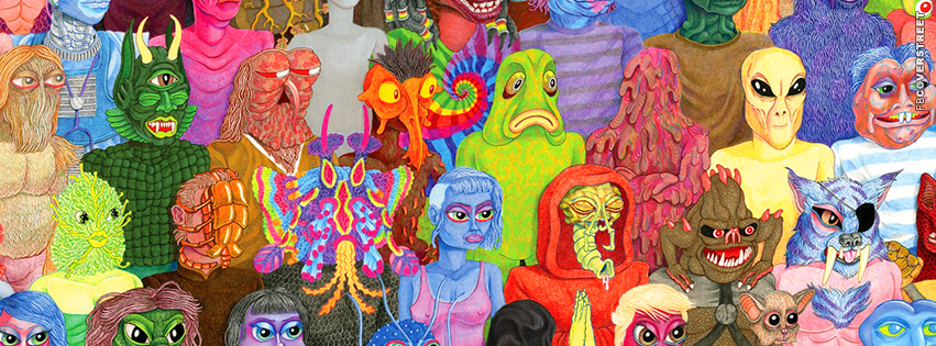 Hipster Alien Artwork  Facebook Cover