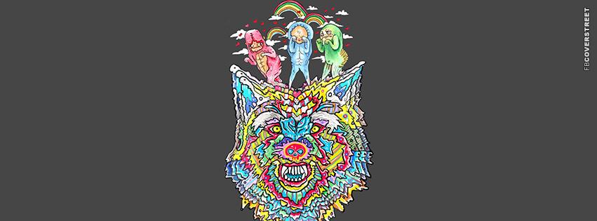 Odd Abstract Weird Hipster Wolf Art  Facebook Cover