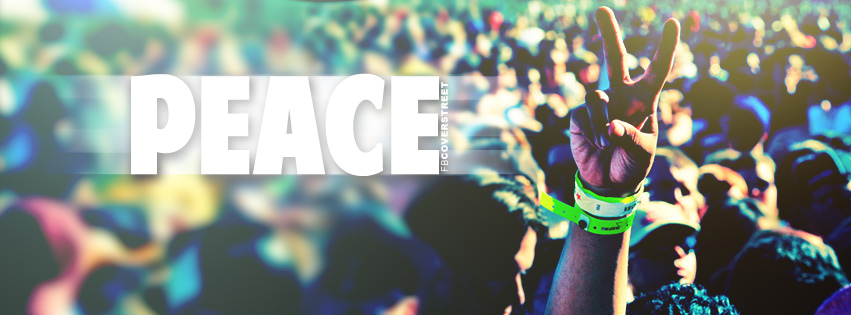 Peace Hand Symbol In a Crowd Facebook cover