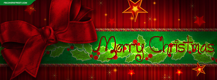 Merry Christmas Ribbon Stars Facebook Cover