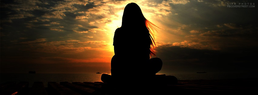 Girl Meditating Over Sunset Facebook Cover - FBCoverStreet.com