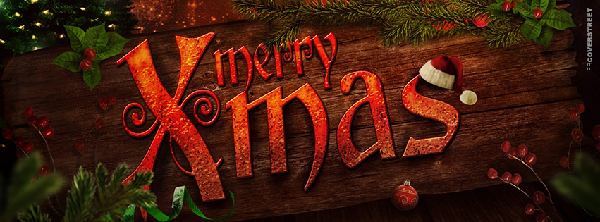 merry xmas engraved facebook cover