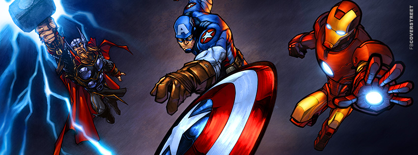 Thor Captain America and Ironman Awesome Artwork Facebook Cover