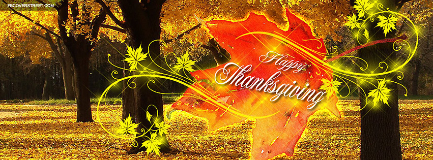 Happy Thanksgiving Vibrant Colorful Leaf Facebook Cover