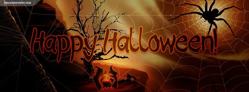 Happy Halloween Scary Spider And Witches Scenery Facebook Cover