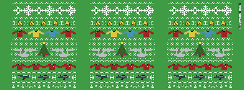 Star Trek Christmas Pattern  Facebook Cover
