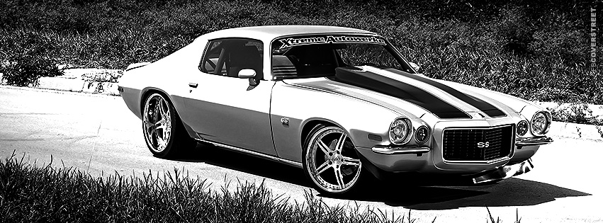 Classic Chevrolet Camaro Black and White  Facebook cover