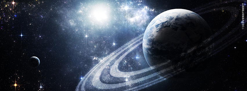 Ringed Planet In Abstract Space  Facebook cover