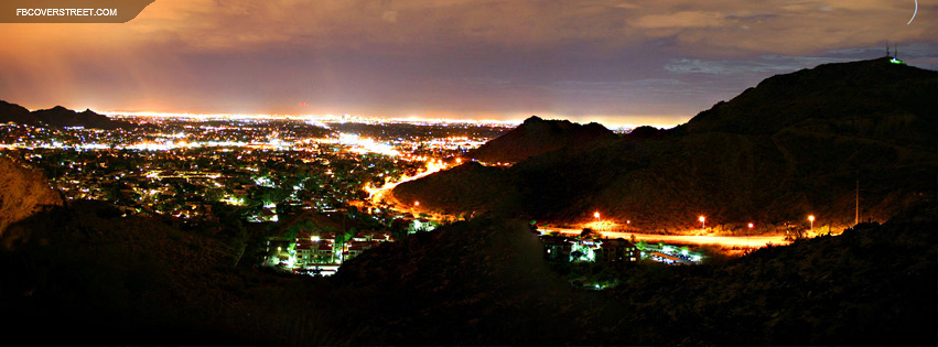 Phoenix Arizona Aerial Night View  Facebook cover